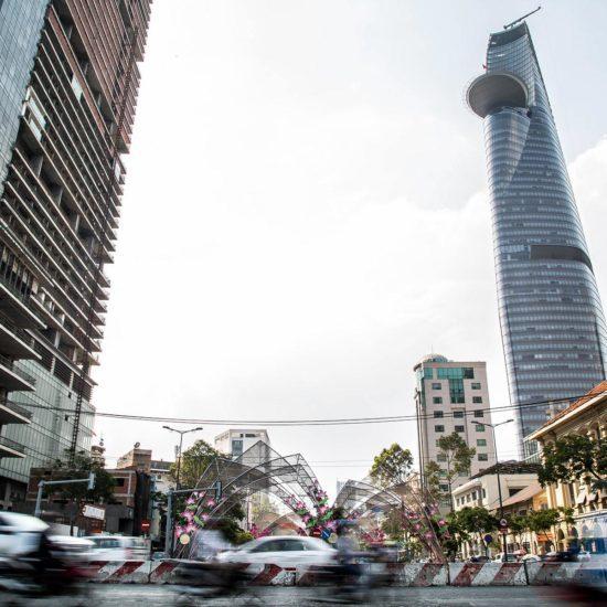 Vue de Saigon depuis le trafic, Vietnam